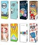 Pack-O-Game 8-Pack Card Game Bundle: HUE, TKO, GEM, FLY, TAJ, LIE, SHH, BUS