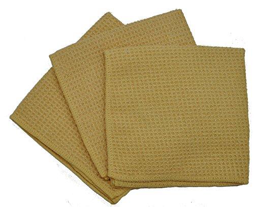 Eurow Microfiber waffle Weave strofinaccio (confezione da 3), Microfibra, Butter, 13 in X 13 in