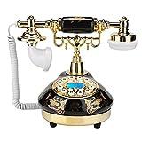 Elprico Teléfono Antiguo, teléfono de Escritorio con patrón de Flores de teléfono Fijo Retro de cerámica Negro Dorado para decoración de Oficina en casa
