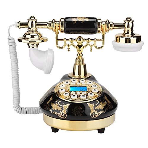 MS-9107 Teléfono retro de estilo europeo, antiguo teléfono de escritorio de decoración del hogar de flores de cerámica negra y dorada FSK/DTMF identificador de llamadas de sistema dual para la decorac
