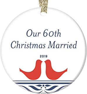 60th Wedding Anniversary Ornament 2019 Christmas Holiday Present Grandparents Mom Dad Parents 60 Year Marriage Keepsake Celebrating Sixty Years Married Together Forever 3