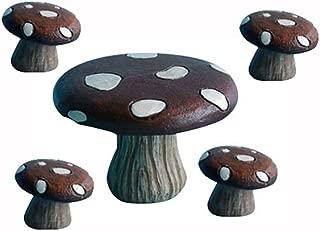 Hi-Line Gift Ltd Fairy Garden Mushroom Table with 4-Stools Figurines