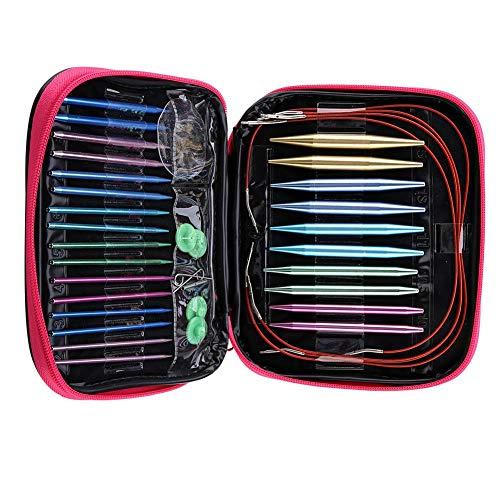 13Paires Daiguilles Circulaires Interchangeables, Aiguilles à Tricoter Circulaires avec tête d aiguilles 2.75mm-10mm