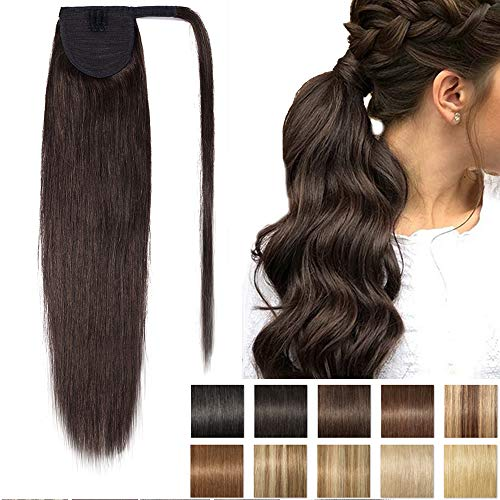 Queue de Cheval Extension Naturel - Rajout Vrai Cheveux Humain - Wrap around Ponytail 16 Pouces - #02 Brun
