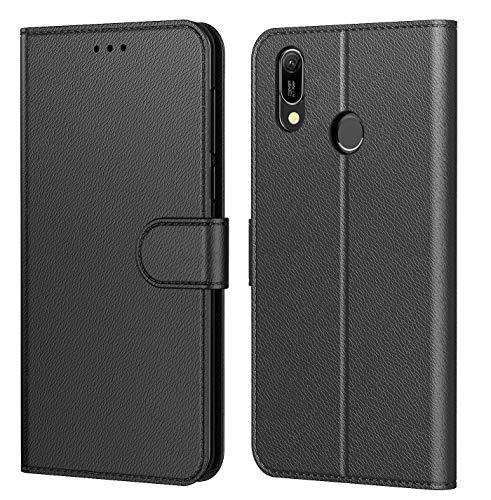 """Tenphone Etui Coque Huawei Y6 2019, Coque pour Huawei Y6s, Protection Housse en Cuir PU,[Emplacements Cartes],[Fonction Support],[Languette Magnétique] pour (Huawei Y6 2019 (6,09""""), Noir)"""