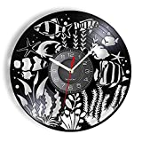RFTGH Acuario Mundial Submarino organismo bentónico Marino Reloj de Vinilo con Registro de arrecifes de Coral y Peces océano decoración del hogar Reloj de Pared Exclusivo Tropical