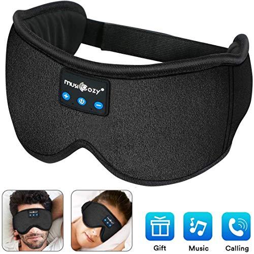 Schlafkopfhörer Bluetooth,Upgrade schlafmaske Augenmaske mit kopfhörern Eye Mask Sleep für Reisen mit Dem Flugzeug Maske mit Bluetooth Headset für iPhone, Android Handys, iPad, Tabletten