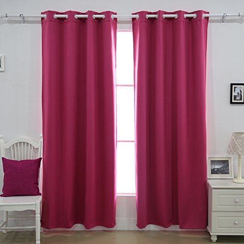 Deconovo Grommet Thermal Insulated Double Layer Lined Polar Fleece Composites for Bedroom Blackout Curtains, 52x63 Inch, Rose