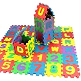 36Pcs Kids Foam Play Mat 4.72 x 4.72 Inches Interlocking Alphabet and Numbers Floor Puzzle Colorful Tiles Girls, Boys Soft, Reusable, Easy to Clean