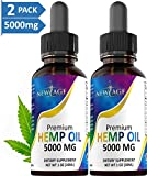 (2-Pack) 5000mg Hemp Oil Extract for Pain, Anxiety & Stress Relief - 5000mg of Pure Hemp Extract - Grown & Made in USA - 100% Natural Hemp Drops - Helps with Sleep, Skin & Hair.