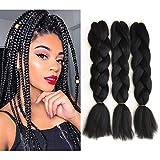 3 Pack Black Braiding Hair 100% Kanekalon Jumbo Braiding Hair 24 Inch Hair Extensions for Braiding (3pcs, Black)