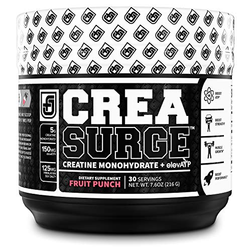 CREASURGE Pre Workout Creatine Powder w/ElevATP - Muscle Builder & Preworkout Strength Supplement | Boost ATP, Muscle Growth, Power & Performance - Caffeine Free - 30 Sv, Fruit Punch