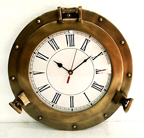 Reloj de pared náutico de latón marino antiguo de 30,4 cm