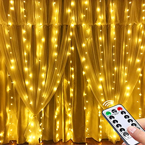 GREENKE Twinkle String Fairy Curtain Lights ( 300 Led, 8 Modes Remote Timer, Warm White ) for Christmas, Party, Wedding, Bedroom Wall Decoration