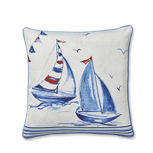 Catherine Lansfield Sailing Boats Cushion Cover White, 43x43cm
