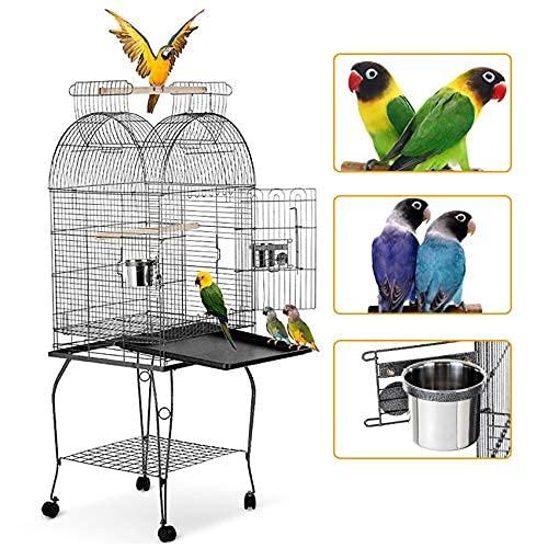 IKAYAA Jaula para pájaros Jaula para periquitos Jaula para Loros para pájaros Jaula para cacatúas guacamayos Parakeet Finch Cage con Carcasa de Acero Inoxidable y Ruedas bloqueables