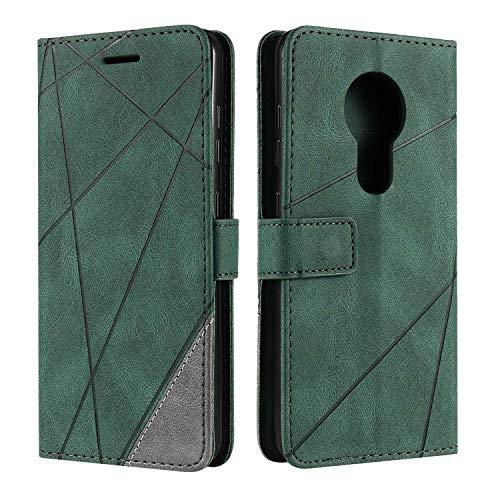 Hülle für Nokia 6.2, SONWO Premium Leder PU Handyhülle Flip Hülle Wallet Silikon Bumper Schutzhülle Klapphülle für Nokia 6.2, Grün