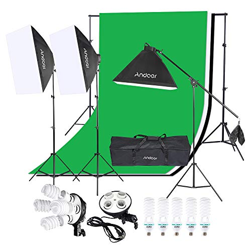 Andoer Photography Lighting Kit, 6.6ft x 10ft Background Support System Including...