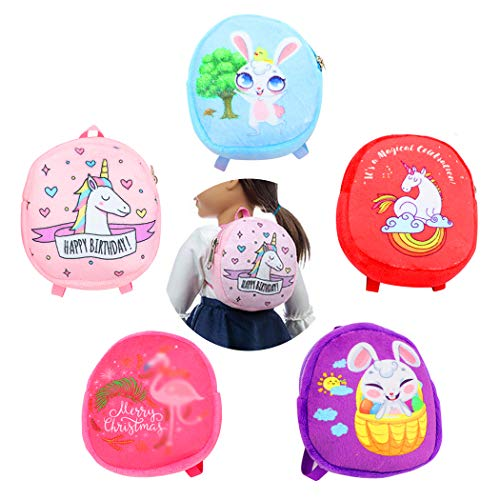 COOFIT Doll Backpack 18 Doll Mini School Backpack for Doll Baby Doll Accessories for Doll Playsets 5PCS Mini Doll Bags for 18 inch