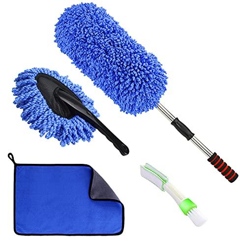 Jaronx 4PCS Car Duster Brushes Set, Car Duster with Extendable Handle Dirt Cleaning Brush,Car Dash Dust Brush,Detailing Brush, Microfiber Towel- Multipurpose Exterior/Interior Dusting Tools
