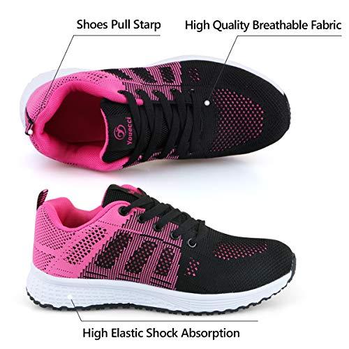 Youecci Zapatillas de Deportivos de Running para Mujer Deportivo de Exterior Interior Gimnasia Ligero Sneakers Fitness Atlético Caminar Zapatos Transpirable Rojo 37 EU