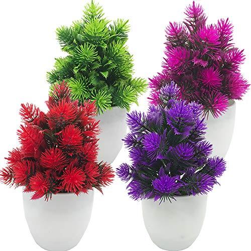 Fycooler Künstliche Pflanzen Mini gefälschte Pflanze Topiary Blumen Gras Kiefer Topfpflanzen Kleine Pflanze Wetterfester Bonsai für zu Hause Badezimmer Balkon Büro Garden Desk Hotel Dekor