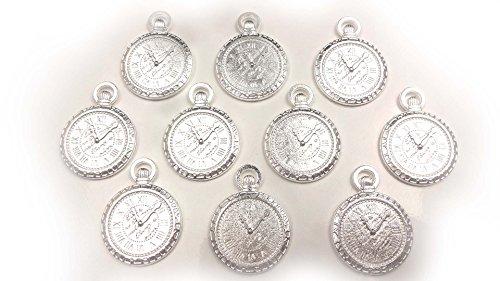 【HARU雑貨】シルバー ミール皿 10枚セット/懐中時計 丸皿 ウォッチ 銀 s66/レジン アクセサリーパーツ