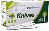 500 Knives] Plastimade White Disposable Extra Heavyweight Plastic Knives, Ideal For Wedding,...