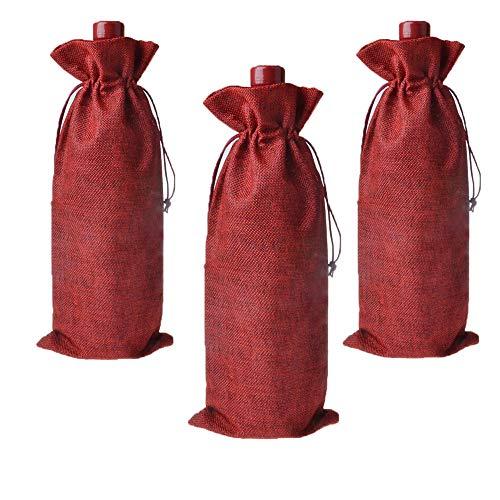 G2PLUS 12 Stück Jute Weinbeutel 36cm x 16cm, Jute Weintasche mit Zugverschluss, Sackleinen Geschenkbeutel für Wein Flaschen (Weinrot)