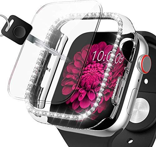 Dilhvy Bling Schutzhülle kompatibel mit Apple Watch Series 6/Series 5/4/SE Hülle Mit PMMA Displayschutz 44mm,Strass Glitzer Hard PC Gehäuse Kratzfest Bling Diamant Case für iWatch (44mm, Klar)