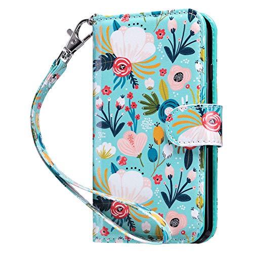 ULAK iPhone 6/6s Hülle, Premium Lederhülle Flip Cover Tasche Brieftasche Schutzhülle Magnet Handyhülle Standfunktion mit Kartenfächer case Kompatibel für iPhone 6/iPhone 6s - Bunte Blume