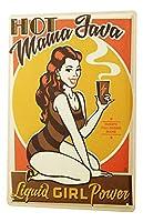 楽しいキッチン装飾Javaコーヒー女性水着フォース-ノスタルジックなティンサインレトロなブリキ壁金属壁プレートバーポスター看板