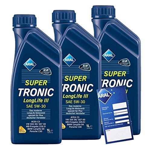 3x 1 L Liter ARAL SuperTronic Longlife III 3 5W-30 Motoröl inkl. Ölwechselanhänger
