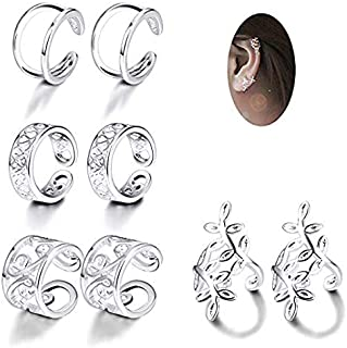 Thunaraz 4 Pairs Silver Ear Cuff Earrings for Women Girls Clip on Fake Lip Cartilage Tragus Helix Body Jewelry Set