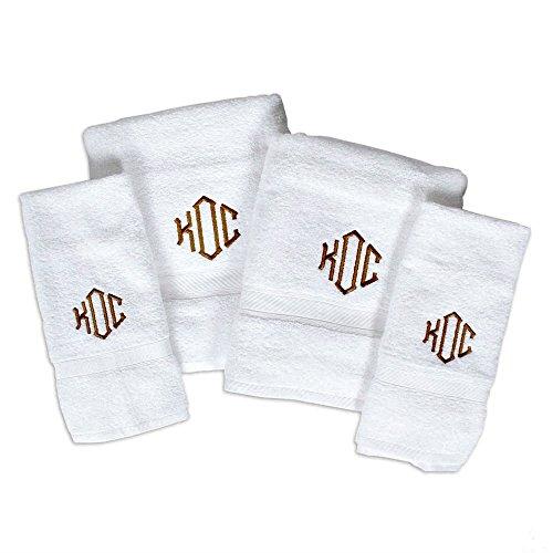 "Oxford Viceroy Four Piece Monogrammed Towel Set; Bath Sheet (35"" x 70"") Hand Towel Wash Cloth and Bath Mat"