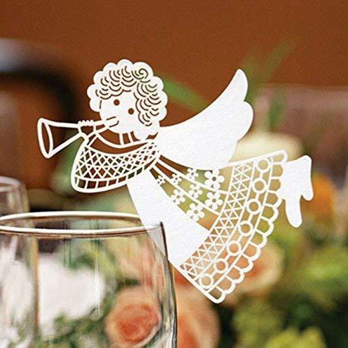 Tarjeta de nombre de boda cortada con láser para colocar en el nombre de la mesa de la marca de vino, tarjetas de lugar, tarjetas de boda, cumpleaños, fiesta, paquete de 100 (corazón) Ángel