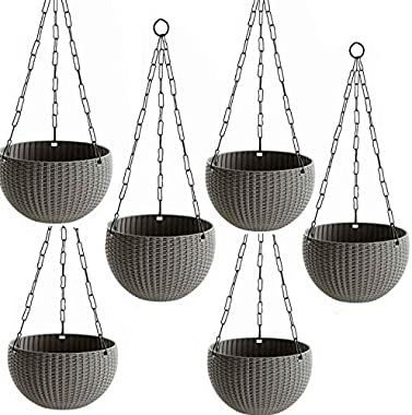 Antier Plastic Hanging pots for Plants and Flowers for Garden Balcony dŽcor -Pack of 6, Grey