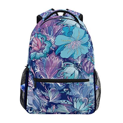 Backpack Türkis Und Lila Blumengeschenk Student Print Lässige Umhängetasche Travel Teens School College Spezial Daypack Rucksack Lightweight Vintage