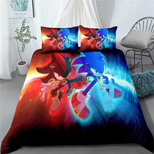AQEWXBB Sonic The Hedgehog Juego de ropa de cama de 3 piezas (1,140 x 210 cm + 80 x 80 cm x 2)