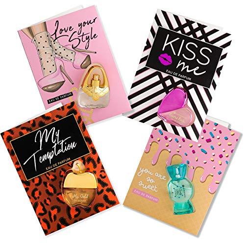 Flor de Mayo, Perfume Cards, Set de 4 Tarjetas Regalo con mini Eau de Parfum Mujer, 4 x Tarjeta Felicitación con Mini Colonia
