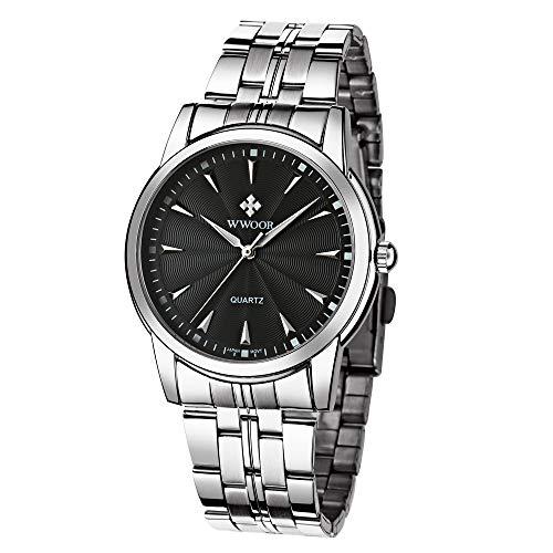 HopeU5 WWOOR Mens orologi da polso in acciaio inossidabile impermeabile Data Orologio da polso Luxury Sport Business classico analogico orologi al quarzo (Nero)