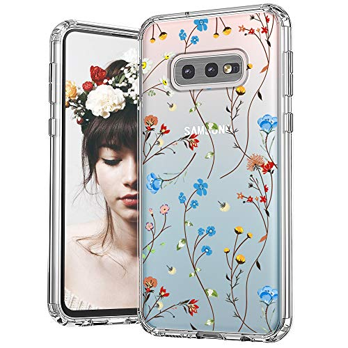 MOSNOVO Galaxy S10e Case, Wildflower Floral Flower Pattern Clear Design Transparent Plastic Hard Back Case with TPU Bumper Protective Case Cover for Samsung Galaxy S10e