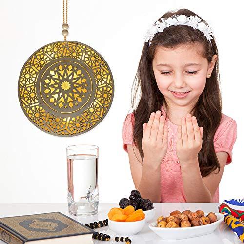 BAOGEDAN Eid Mubarak Ramadan Wooden Crafts with Moon, Star and Castle, Hanging Wall Decor Lantern Star Crafts Pedant Eid Mubarak Advent Calendar for Eid Ramadan Mubarak Party Decoration