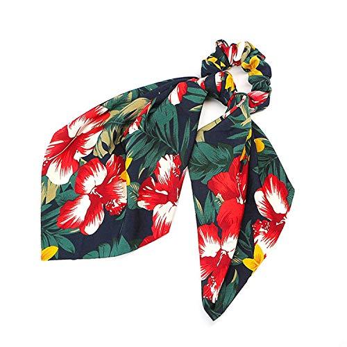 OULN1Y Bandeaux Floral Print Scrunchie Women Hair Scarf Elastic Bohemian Hairband Bow Hair Rubber Ropes Girls Hair Ties Accessories,1