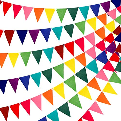 RUBFAC 60pcs Rainbow Felt Fabric Pennant Banners Multicolor Party Garland for Birthday Party, Classroom Decoration (5 Pack)