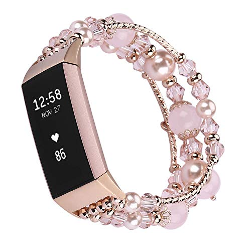 Qianyou Kompatibel mit Fitbit Charge 3 Armband Perlen, für Fitbit Charge 4 Crystal Pearl Elastic Stretch Ersatzarmband Wechselarmband Kompatibel mit Fitbit Charge 3/4 Frauen Mädchen,Rosa (5,5''-7,9'')