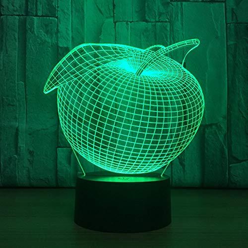 7 kleuren creatieve 3D apple USB LED touch schakelaar nachtlicht decoratie kleurrijke sfeerverlichting kinderen slaapkamer tafellamp geschenk