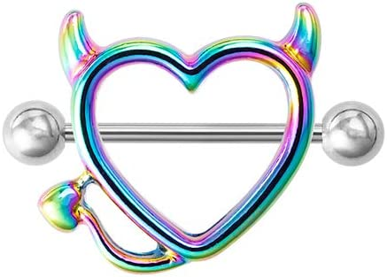 Mxue Nipple Shield Rings Barbell Heart Devil Stainless Steel Body Piercing Breast Rings,Nipple Studs for Nipple Tougue Body Piercing,0.39oz(Multicolor)