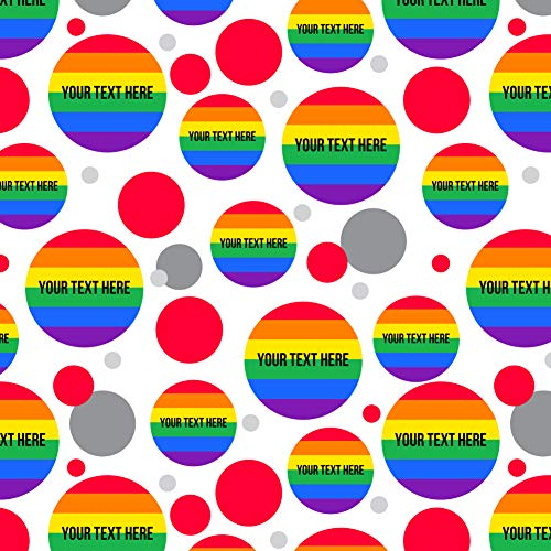GRAPHICS & MORE Personalized Custom Rainbow Pride 1 Line Premium Gift Wrap Wrapping Paper Roll