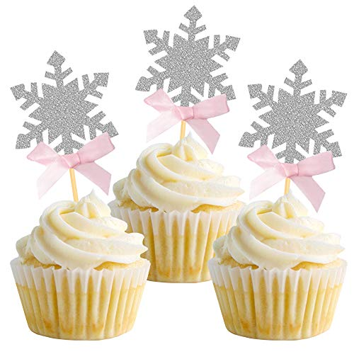 Snowflake Cupcake Toppers with Pink Bow, Silver Cake Topper Picks for Winter Wonderland Party, Winter Onederland Cake Decoration Set of 24